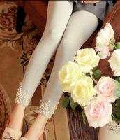 2015 Korean Shopping spring & autumn cotton outer wear legging 3 colors Fashion diamond pearl Slim Leggings women Free Shipping