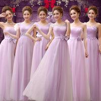 New Wedding Formal dress 2014 Fashion Bandage Double-shoulder Bridesmaid Dress Purple Long Design wedding Dress Plus Size