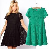 Hot Sale fashion 3 Color L XL XXL Lotus Leaf Lace Sexy O-neck Waist Women Dress Club wear Patry Dresses Sexy Dress Work Dress
