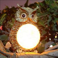 Free Shipping Top Export Europe Quality Solar Owl Night Light LED Garden Light Decorative Yard Lamp Solar Resin Lamp