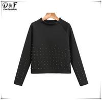 Crewneck Cotton Beading Crop Pullovers 2015 Fashion Brand Womens Street Style Plain Black Long Sleeve Casual Sweatshirt