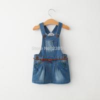New 2015 spring children's clothing girls child fashion sleeveless denim dress kids baby casual overalls dresses high quality