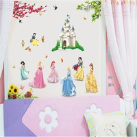 Free shipping vinyl wall art decals home decorative  window wall poster  wall stickers princess and castle