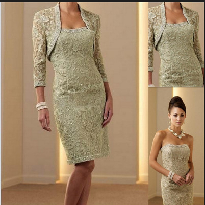 Hot sale satin knee length lace mother of the bride dress mother