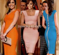 2015 Fashion high quality short-sleeved square collar work back zipper OL temperament knee pencil dresses S-XL