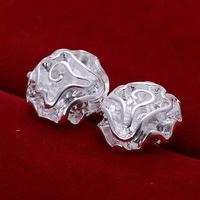 Elegant Fashion Women's Silver Plated Rose Flower Stud Earrings Beautiful Earrings Jewelry Gift For Ladies Girls Free Shipping