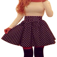 Women Sexy White Dot Long Sleeve Bodycon Patchwork Evening Cocktail Party Mini Dress