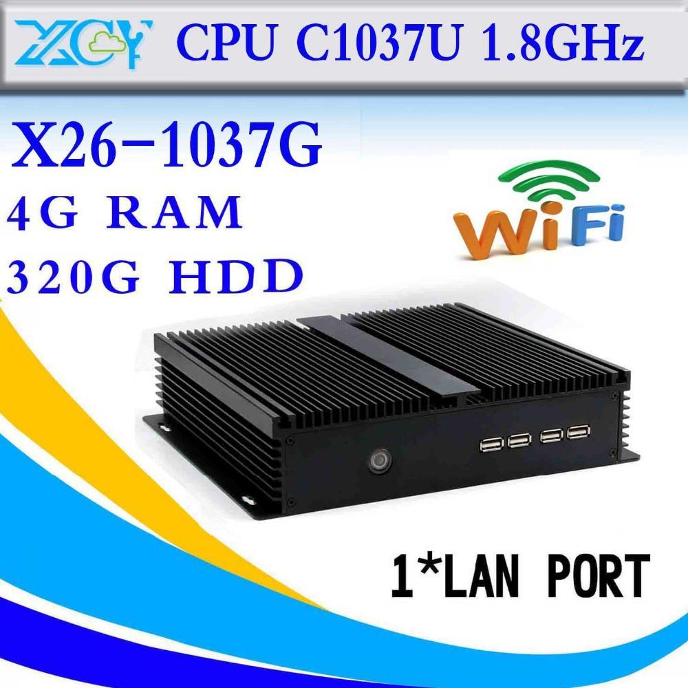 The cheapest CPU celeron C1037U fanless design 4g ram DDR3 320g hdd mini pc without fan cheap mini pc(China (Mainland))