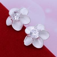 Ladies Crystal Charming Silver Plated Zircon Stone Rose Flower Stud Earrings Fashion Women Girl's Stud Earrings Jewelry Gift