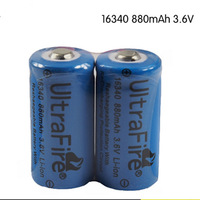 Free shipping UltraFire LC 16340 3.7V 880mAh Rechargeable Li-ion Batteries (2-Pack Blue)