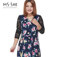 Msshe plus size clothing 2014 winter lace patchwork print elegant one-piece dress 2435