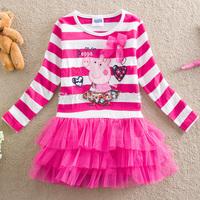 Free shipping 5pcs/lot girls peppa pig dress girls long sleeve stripe cartoon dress girls emboridery lace dress 2-6year