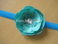 Flower Headband Velvety Flower Crystal Center Headband The Eva, Baby Toddler Child Girls Headband