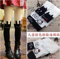 Free shipping Girl's legging Children cotton socks 100% boneless female child two-color kt kitten rabbit legging