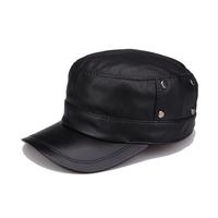 Original design luxury quinquagenarian genuine leather hat spring and autumn sheepskin cadet cap