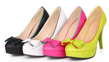 Spring New 2015 Hot Sale Women High Heels Pointed Toe Bowtie Thin Heel Single Shoes Woman Slip-on Spring Summer Women Pumps(China (Mainland))