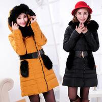 Fox winter fashion patchwork luxury raccoon fur down coat long female slim thickening