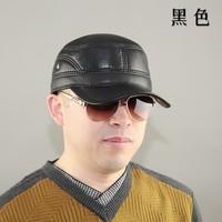 2015 cadet cap quinquagenarian genuine leather hat casual sheepskin winter warm hat