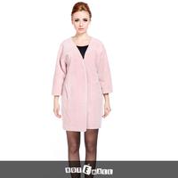 2015 new arrival thick long coat women underwear double faced fur natural lamb fur coat v-neck women long outwear free shipping