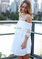 2015 New Sexy Vestidos Strapless Shoulder Fashion Chiffon Lace Dress European style Floral Crochet Backless Clubwear b9 CB035365