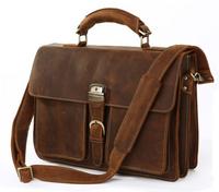New Style Vintage Genuine Leather Men Business Handbag Briefcase Cowhide Messenger Shoulder bag Crazy Horse Tote Laptop Bag 1031