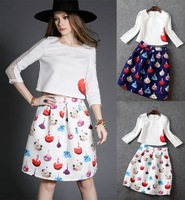 European American fashion spring autumnembroidery printing long sleeve shirt and skirt  women causal suit dress brand designer