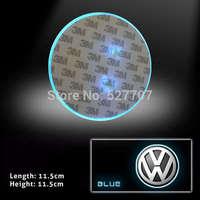 For Volkswagen Badge 2D Logo Emblem LED Baseplate Blue Lights Car Rear Light CC Glft 5 6 7 Tiguan DC 12V