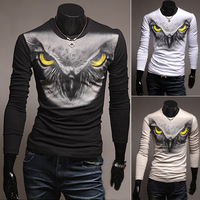2015 free shipping new brand O-neck t-shirts fashion style new brand animal men t-shirts long sleeve men's casual t-shirt H7727