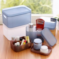 Thick Plastic Storage Box with Cover Cosmetic Organizer Sundries Box Free Combination of Desktop Creative Storage Box 4 PCS/Set