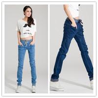 2015 New Women Loose Harem Pants Cotton Jeans Slim Elastic Waist Drawstring Fit for Dance Sports Ladies Trousers CX853653