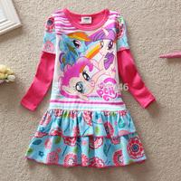 Free shipping 5pcs/lot girls dress my little poney dress girls spring long sleeve cartoon dress girls European Americandress