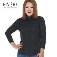 Msshe plus size clothing 2015 spring turtleneck lace knitted basic shirt t-shirt 2685