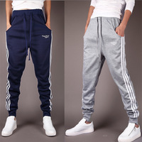 Spring 2015 New Men Sweat Pants High Quality Striped Printed Drawstring Elastic Cotton Casual Man Harem Sweatpants Running Pants
