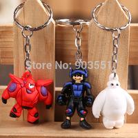 Cartoon Big Hero 6 Baymax Hiro Soft Rubber PVC Figures Toys with Keychain Bag Pendant 3pcs/set Free Shipping