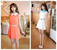 High Quality 2015 New Women Summer Chiffon Dress Patchwork Crew neck Sleeveless Floral Casual Dress free shipping