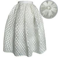 2015 New Mori Style Female Embroidered Flower Crochet Lace Midi Skirt Chiffon Silk Organza High Waist Hollow Out Saia de Renda