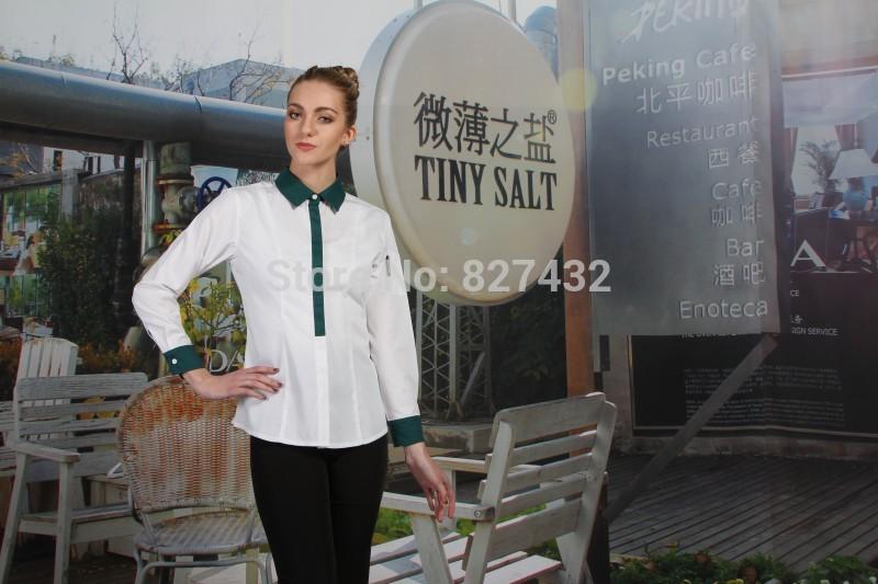 2015 New Design Waitress Shirts Work Uniforms Chef Uniforms for sale(China (Mainland))