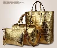 Three pieces suit pu crocodile handbags women messenger bags tote shoulder women handbags leather bags