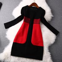 2014 news high woolen round neck long-sleeved dress women dress