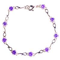 2015 New Fashion Purple Amethyst 925 Silver Bracelet Jewelry For Women Free Shipping Wholesale 18.5CM