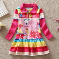 Free shipping 5pcs/lot girls peppa pig dress girls long sleeve stripe cartoon dress girls European American causal dress 2-6year
