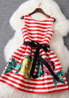 Free shipping 2015 women o-neck sleeveless stripe print paillette slim vest tank dress t2736 casual dress wholesale va1839