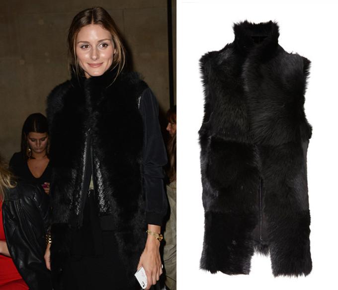 Черный Pu кожа мех куртка с длинным рукавом роскоши пальто зима короткий дизайн женщин искусственного меха лисы жилет кожаный жилет верхняя одежда