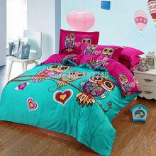100% algodão conjuntos de cama 4 pcs ou 3 pcs para rainha do rei de solteiro coruja duvet colcha de cama cobre roupas de cama bedlinens dos desenhos animados 3d impresso(China (Mainland))
