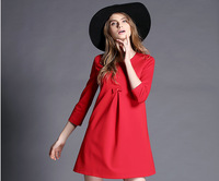 2015 Women Fashion Casual Loose New Pullover Solid  Polyester Slim Round Neck Spring  Plus Size Dresses LSH01-02