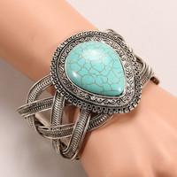 New design Retro Tibet silver water-drop weave twist turquoise bangle & bracelets for woman Factory direct sales Z010