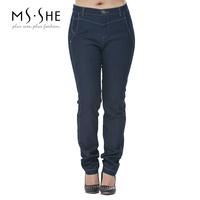 Msshe plus size clothing 2014 winter denim pants trousers mm7567