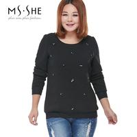 Msshe plus size clothing 2014 winter mm all-match beading long-sleeve sweatshirt t-shirt 2233
