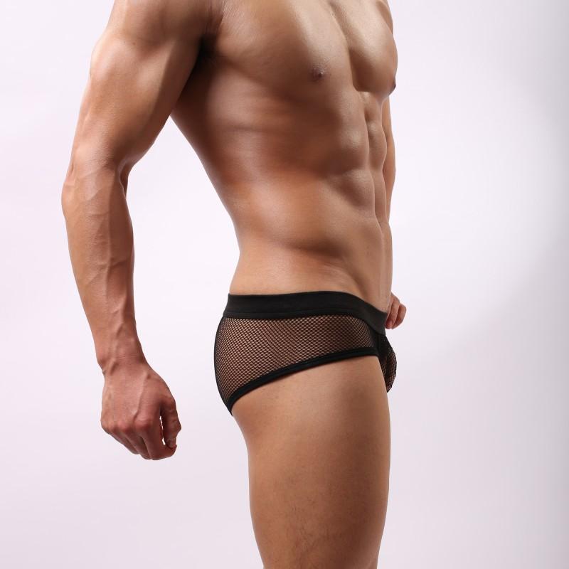 Воздухопроницаемый пенис сумка видеть сквозь сетчатая ткань хлопок трусы мужчины трусы нижнее белье сексуальный гей мужчины в прозрачный трусы