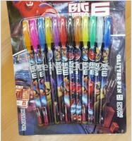 Free Shipping 1200pcs/lot !2015 Fashion Big Hero 6 Baymax Multi-color Ballpoint Pens 12-Colors Glitter Pen Stationery Set G123